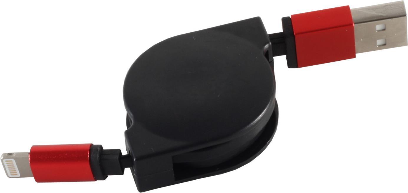 S-Conn 14-50148 0.8m USB A Lightning Schwarz - Rot Handykabel (14-50148)
