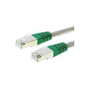 CAT 6 Patchkabel Crossover, 1 m, Direktvernetzung S/FTP PiMF (paarweise in Metallfolie geschirmt), Kabel grau, Knickschutztülle grün, Verdrahtung gekreuzt (014881) - broschei