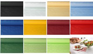 PAPSTAR Damast-Tischtuch (B)1,2 x (L)10 m, weiß Papiertischtuch mit Damastprägung, Stärke: 40 g/qm - 1 Stück (18546)
