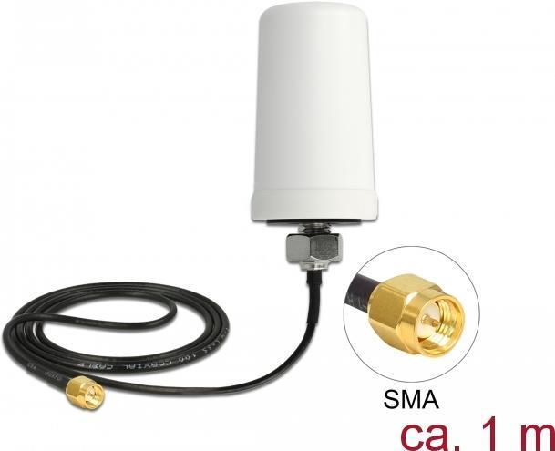 Delock LTE Antenne SMA Stecker 1,7 - 2,0 dBi ULA100 1 m omnidirektional starr outdoor weiß (12545)