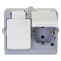 Kopp Aufputz-Feuchtraum Zweifachsteckdose IP 44 Schutzkontakt-Steckdose 2-fach, waagerecht,intern bereits verdrahtet (1302.4800.6)