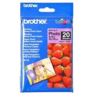 Brother BP 61GLP Premium Glossy Photo Paper - Fotopapier, glänzend - 9 mil - 102 x 152 mm - 190 g/m2 - 20 Blatt (BP61GLP)