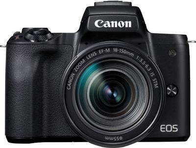 Systemkameras - Canon EOS M50 Digitalkamera spiegellos 24.1 MPix APS C 4K 25 BpS 8.3x optischer Zoom EF S 18 150mm IS STM Objektiv Wi Fi, NFC, Bluetooth Schwarz  - Onlineshop JACOB Elektronik