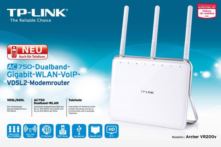 TP-LINK Archer VR200v - Wireless Router - DSL -...