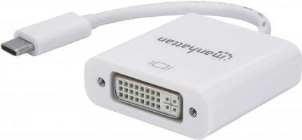 Manhattan SuperSpeed+ USB-C to DVI Converter - Videoschnittstellen-Converter - DVI / USB - USB-C (M) bis DVI-I (W) - 8 cm - abgeschirmt - weiß - geformt, 4K Unterstützung
