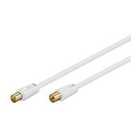 Wentronic Goobay Antennen Anschlusskabel, 100% geschirmt, vergoldet, Weiß, 2.5 m - Koax-Stecker  Koax-Buchse (67283)