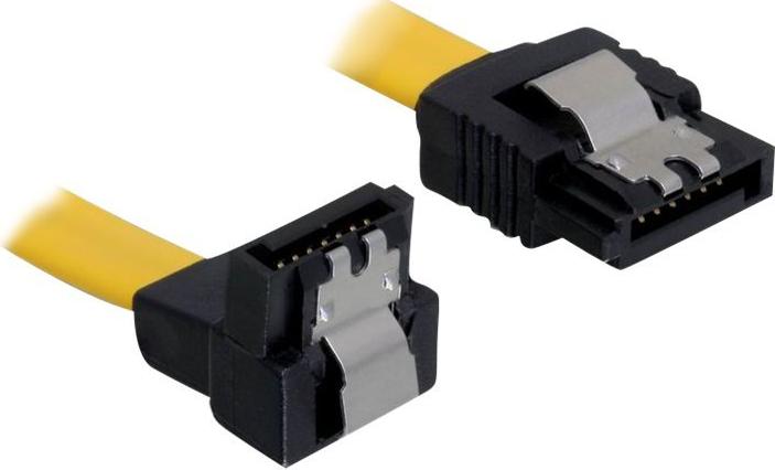 DeLOCK Cable SATA - SATA-Kabel - Serial ATA 150/300 - SATA (W) bis SATA (W) - 70 cm - nach unten gewinkelter Stecker, eingerastet, nach oben gewinkelter Stecker - Gelb