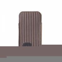 Style for mobile Bugatti Twin Size S - Tasche für Mobiltelefon - Kalbsleder - Brown Stripe - für LG KM570, Nokia 27XX, 52XX, C1, C2, C3, C5, X3, X6, Samsung GT S3370, Wave 525, 723 (07731)