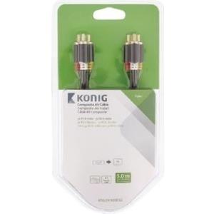 Audiokabel, Videokabel - Nedis König Video Audiokabel Composite Video Audio RCA x 3 (M) bis RCA x 3 (M) 5 m Anthrazit rund (KNV24300E50)  - Onlineshop JACOB Elektronik