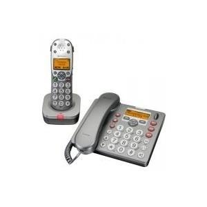 Audioline Amplicom PowerTel 880 - Schnurlostelefon mit Schnurtelefon, Anrufbeantworter + Anruferkennung DECTGAP (585125) - broschei