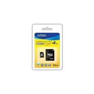 Speicherkarten, Speichermedien - ADATA Flash Speicherkarte (microSDHC SD Adapter inbegriffen) 4GB Class 4 microSDHC (AUSDH4GCL4 RA1)  - Onlineshop JACOB Elektronik