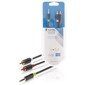 Audiokabel, Videokabel - Nedis König Audiokabel Mini Phone Stereo 3,5 mm (M) bis RCA x 2 (M) 5 m Anthrazit rund (KNA22200E50)  - Onlineshop JACOB Elektronik