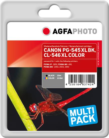 AgfaPhoto Multi pack - 2er-Pack - Schwarz, Farbe (Cyan, Magenta, Gelb) - wiederaufbereitet - Tintenpatrone (Alternative zu: Canon PG-545XL, Canon CL-546XL, Canon 8286B001) - für Canon PIXMA MG2550, MG2555, MG2950, MG3050, MG3051, MG3052, MG3053,