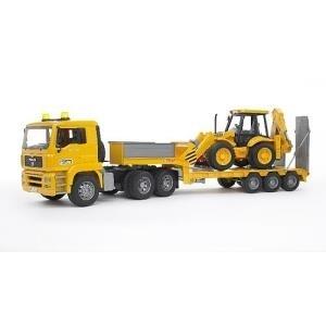 BRUDER MAN TGA Low loader truck with JCB Backho...