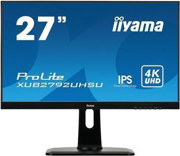 iiyama ProLite - LED-Monitor - 68.6 cm (27) (26.9 sichtbar) - 3840 x 2160 4K - IPS - 300 cd/m² - 1000:1 - 4 ms - HDMI, DVI, DisplayPort - Lautsprecher - Schwarz