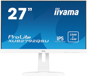 "Iiyama ProLite XUB2792QSU-W1 - LED-Monitor - 68.5 cm (27"") - 2560 x 1440 - IPS - 350 cd/m² - 1000:1 - 5 ms - HDMI, DVI, DisplayPort - Lautsprecher - weiß"